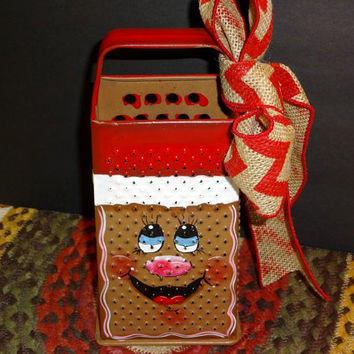 Gingerbread Up cycled Bromco Box Grater,, Kitchen Decor, Gingerbread Decor,Vintage Cheese Shredder,,