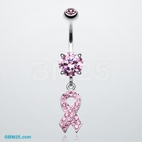 Pink Awareness Ribbon Tiffany Dangle Belly Button Ring