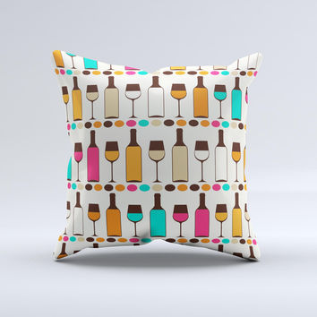 Vectored Color Wine Glasses & Bottles Ink-Fuzed Decorative Throw Pillow