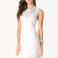 bebe Womens Embellished Midi Dress Bright White