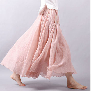 Summer Women Long Skirts Linen Cotton Elastic Waist Pleated Maxi Skirts Beach Boho Vintage Skirts