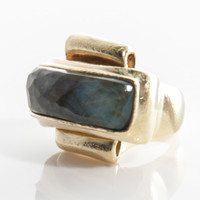 Vaubel Designs Rectangle Wood Metal Ring in 18 Kt Gold Plated