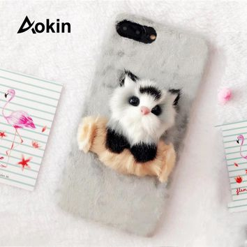 Aokin Cute Lovely 3D Cartoon Kitten Phone Cases For iphone 7 Plus Winter Warm Plush Cat Fluffy Case For iPhone7 Coque Back Cover