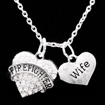 Crystal Firefighter Wife Heart Fireman Gift Charm Necklace