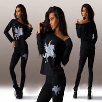 Black Pegasus Print Off Shoulder Top and Skinny Pants