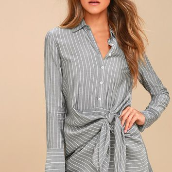 Poised and Proper Grey Striped Knotted Shirt Dress