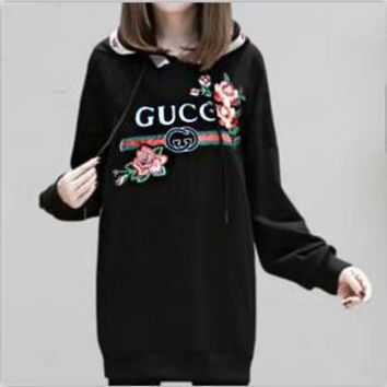 Gucci Fashion Casual Embroider Long Sleeve Large size Medium long Pullover Sweater G