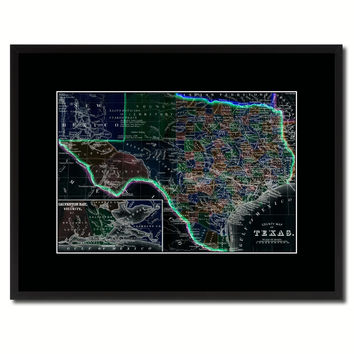 Texas Vintage Vivid Color Map Canvas Print, Picture Frame Home Decor Wall Art Office Decoration Gift Ideas