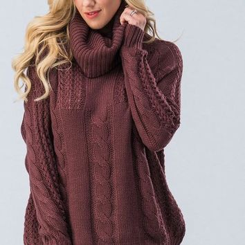 Cable Knit Cowl Neck Sweater - Eggplant