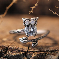 Lucky Owl Crystal Ring Women's Girl's Retro Burnished Animal Bird Ring Jewelry Adjustable Free Size Wrap Ring Black Crystal gift idea