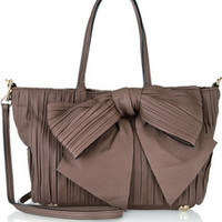 Valentino Bow-embellished pleated leather shoulder bag – 50% at THE OUTNET.COM