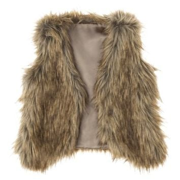 Cherokee® Girls' Fur Vest - Grey
