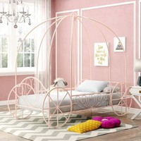 Luxury Pink Twin Size Bed For Little Girl Princess