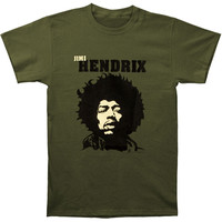 Jimi Hendrix Men's  Close-Up Slim Fit T-shirt Military
