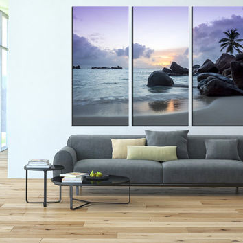 Sunset on tropical beach canvas art print, sea wall art, beach wall art, extra large wall art, lanscape canvas print,  t146