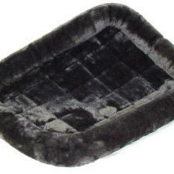 ONETOW Midwest Quiet Time Pet Bed - Plush Fur Pearl Gray - 48