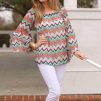 Missoni Bell Top, Orange/Jade