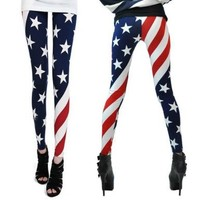 Women Patriot Patriotic American US Star Country Flag Legging Tregging Tight Ankle Length Footless One Size