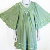 Boho Indian Gauze Dress  Sage Green Kaftan Mini Dress Free Size Angel Sleeve Sundress