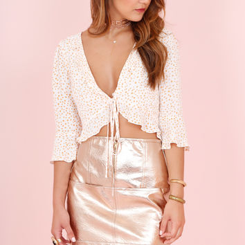 FOR LOVE AND LEMONS | Aurora Tie Top - White Star