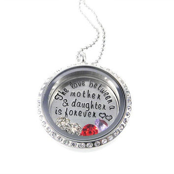 Crystal Living Locket / The Love Between a Mother and Daughter is Forever / Floating Lockets / Memory Locket