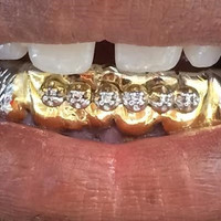14k gold overlay removable Gold Teeth Grillz Grills caps 6 teeth with 6 cz stone /m8