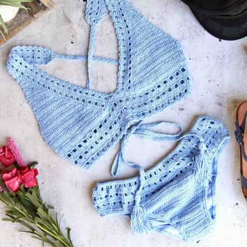 halter crochet set with ruched bottom - blue
