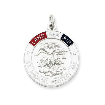 Sterling Silver Enameled Saint Michael Medal
