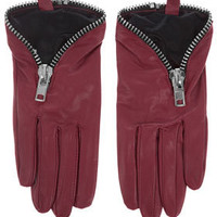 Chunky Zip Leather Gloves