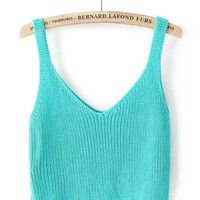 Aqua Blue Sleeveless Knit Top