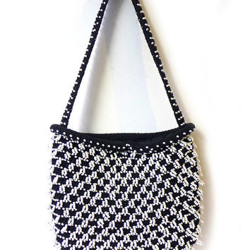 Vintage Mid century Walborg hand beaded black and white purse