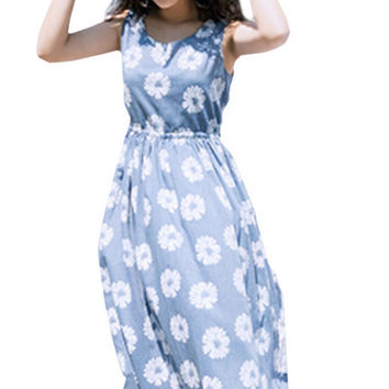 Light Blue Floral Print Sleeveless Midi Dress
