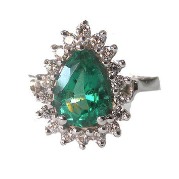 Emerald Ring, Pear shape Emerald,diamonds, 14K White gold, Frame Pave, Diana ring, F VS-1 Diamonds surround the Emerald, May Birthstone