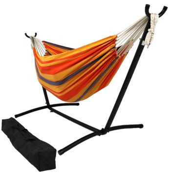 Sunnydaze Decor Summer Breeze Woven Cotton Hammock with Stand