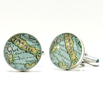 Italy Antique Map Cufflinks