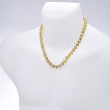 """Jewelry Kay style Men's Fashion 1 Row Stoned Flower Shape Iced Out 10 mm 20"""" CZ Chain Necklace"""