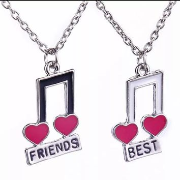 Best Friends Musical Notes Necklace
