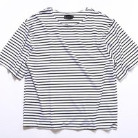 White Oversized Striped T-Shirt