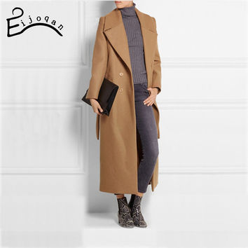 casaco feminino 2016 UK Women Plus size Autumn Winter Cassic Simple Woolen Maxi Long Coat Female Robe Outerwear manteau femme