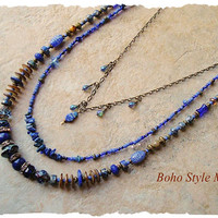 Bohemian Necklace, Midnight Blue, Layered Beaded Necklace, Modern Hippie, Urban Gypsy, bohostyleme, Kaye Kraus