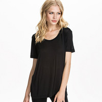 Black Halter Cutout Back Loose Shirt
