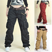 Khaki/black/red/army green fatigue cargo baggy pants women Hip hop dance sport loose plus size trousers for man & women