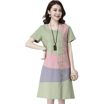 Summer Dress Women Beach Dress Short sleeve O neck Patchwork A-Line casual Cotton Linen dress vestidos Plus size lady Clothing