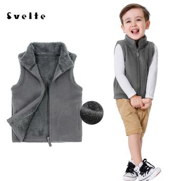 SVELTE Spring Kids Boys Girls Worsted Lining Fur Fleece Vest Solid Color Zipper Solid Unisex Waistcoat Inside Fur Kids Vest 2-6