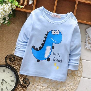 2016 New spring Autumn baby's boys Kids Girls Cartoon dinosaur letters printing long-sleeve o-neck Tops basic t-shirt MT439