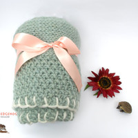 Baby Blanket, Hand Knitted for you with 100% Pure New Wool in the colour Moss Green- White, Eco Friendly