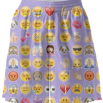 purple emoji basketball shorts