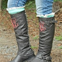 Show Stompin' Boots - Taupe with MONOGRAM