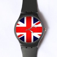 Custom The Union Jack Flag Watches Classic Black Plastic Watch WT-0769
