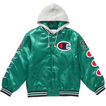 Supreme Green Satin Hoodie Jacket by Champion